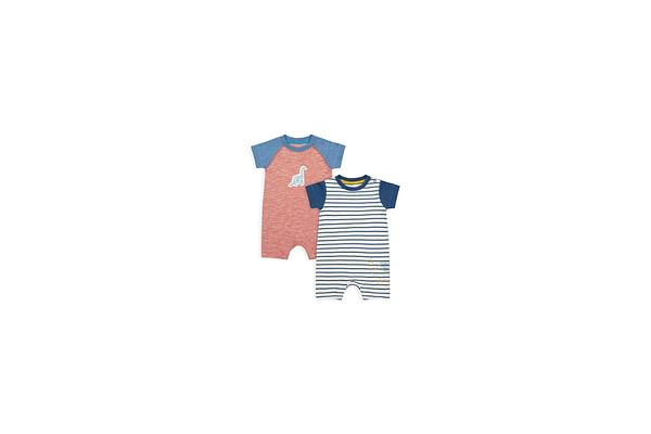 Boys Half Sleeves Romper Striped And Dino Patchwork - Pack Of 2 - Multicolor
