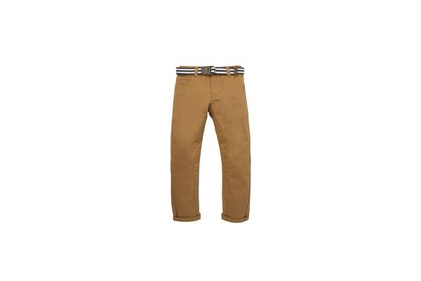 Boys Belted Twill Trousers - Mustard