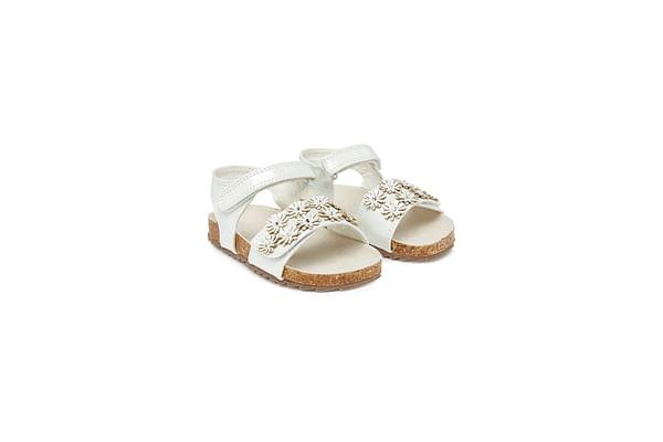 Girls Flower Footbed Sandals - Cream