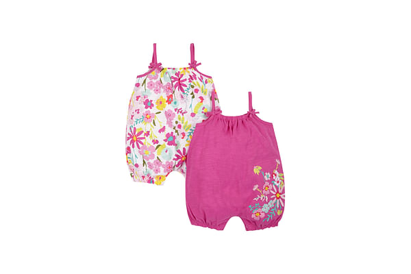 Girls Floral Rompers - Pack Of 2 - Multicolor