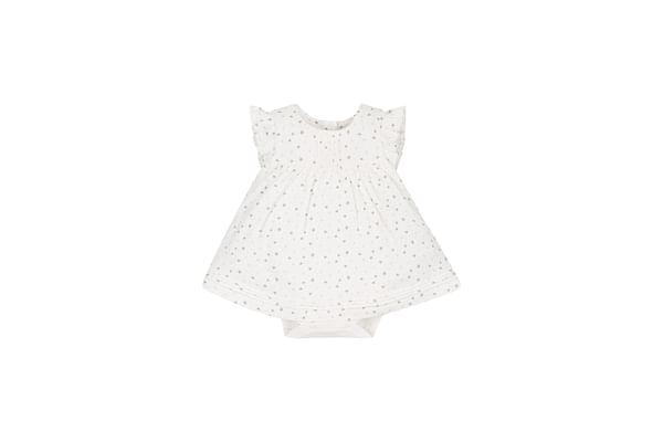 Girls Star Romper Dress - Cream