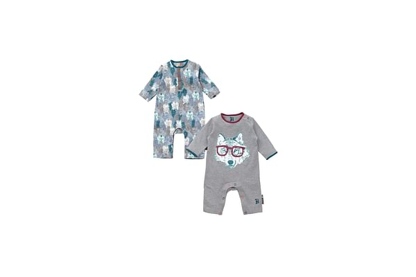 Boys Wolf And Mountain Rompers- Pack Of 2 - Multicolor