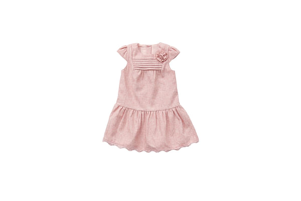 Girls Tweed And Lace  Dress - Pink