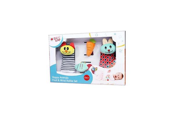 Biba Toys Happy Animals Wrist & Foot Rattle In Gift Box