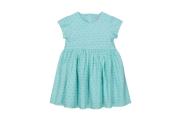 Girls Half sleeve Casual dress-Embroidered Aqua