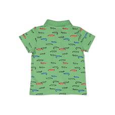 Boys Half sleeve Polo-Printed Green