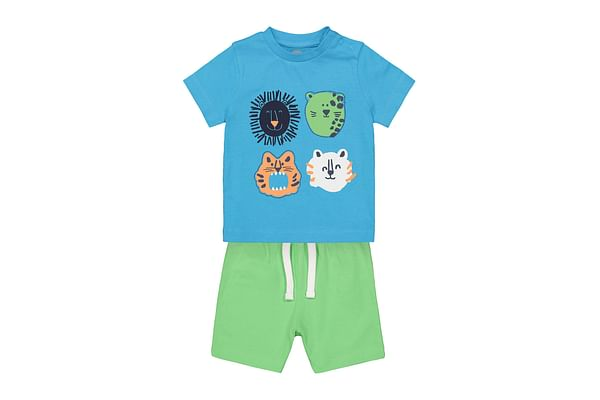 Boys Blue tee and Green shorts
