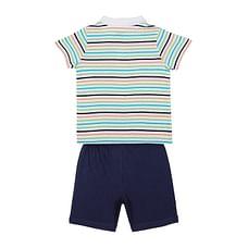 Boys Stripe Polo and Navy shorts