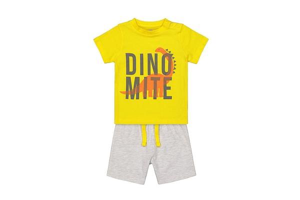 Boys Yellow tee and Grey shorts
