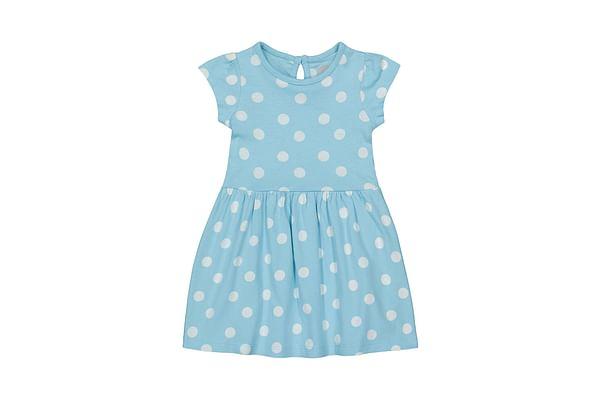 Girls Half sleeve Casual dress-Printed Blue