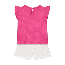 Girls Pink top and white shorts