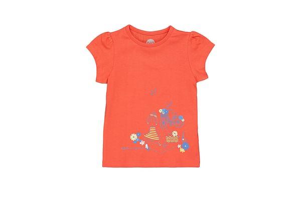 Girls Half sleeve Round neck tee-Printed Orange