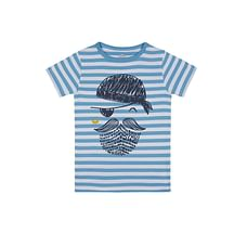 Boys Half sleeve Round neck tee-Printed Blue