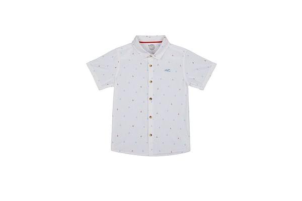 Boys Half sleeve Shirt-Printed White