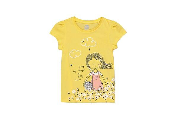 Girls Half sleeve Round neck tee-Printed Yellow
