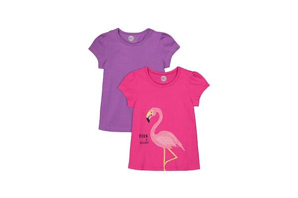 Girls Half sleeve Round neck tee- Multicolored