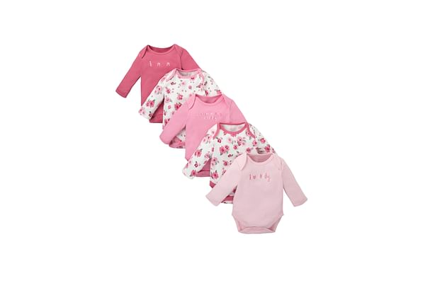 Girls Full Sleeves Bodysuit Floral Print - Pack Of 5 - Pink
