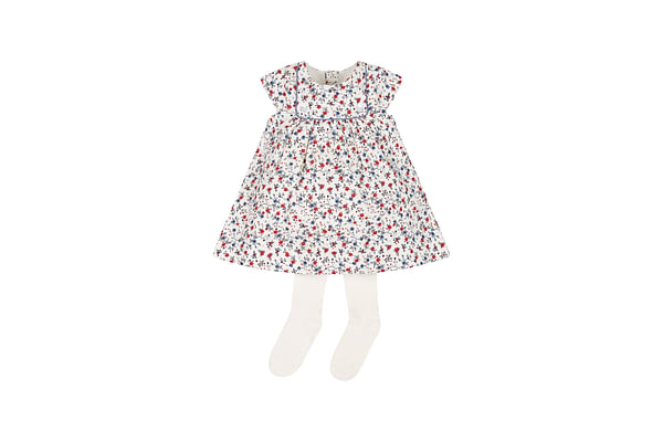 Girls Half Sleeves Dress With Tights Floral Print - White
