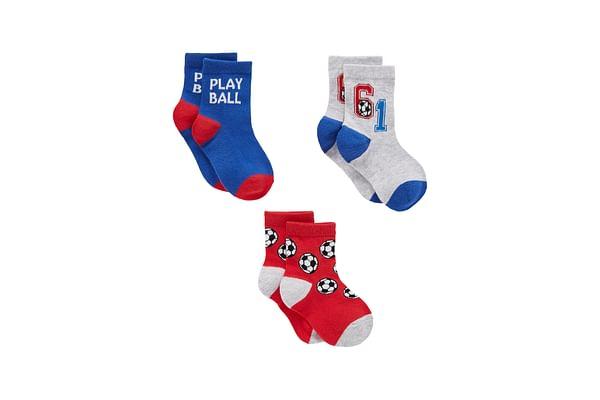 Boys Socks Football Pattern - Pack Of 3 - Multicolor