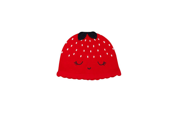 Girls Knitted Hat Strawberry Design - Red