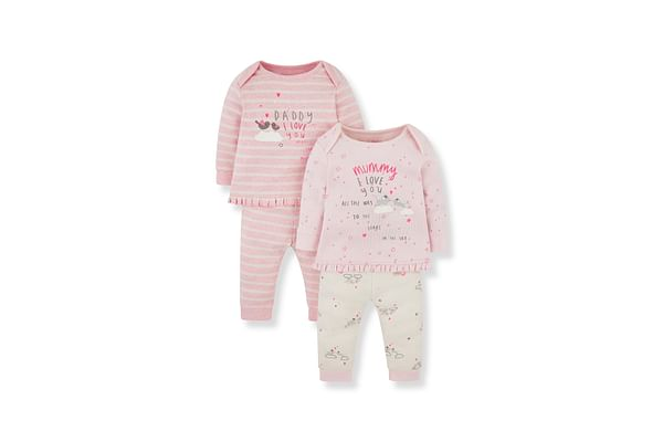 Girls Full Sleeves Pyjama Set Text Print - Pack Of 2 - Pink