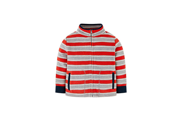 Boys Full Sleeves Fleece Sweatshirt Striped - Grey Red