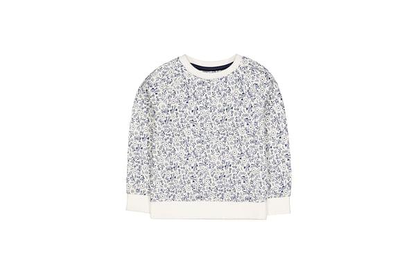 Girls Full Sleeves Sweatshirt Floral Print - White
