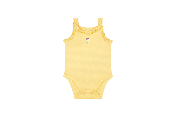 Girls Sleeveless Bodysuit Frill Details - Yellow