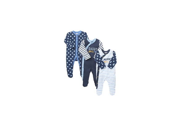 Boys Full Sleeves Sleepsuit Star And Slogan Print - Pack Of 3 - Blue