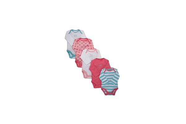 Girls Full Sleeves Bodysuit Striped And Printed - Pack Of 5 - Multicolor