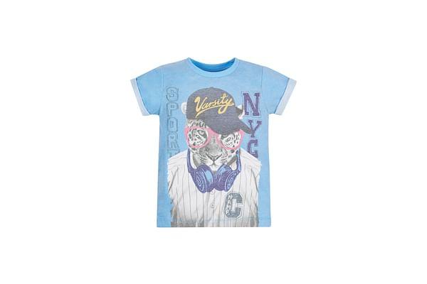 Boys Half Sleeves T-Shirt Leopard Print - Blue