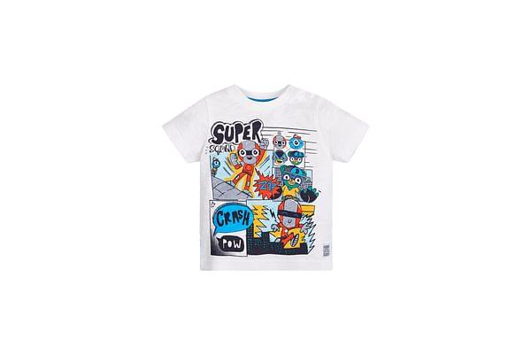 Boys Half Sleeves T-Shirt Comic Superhero Print - White