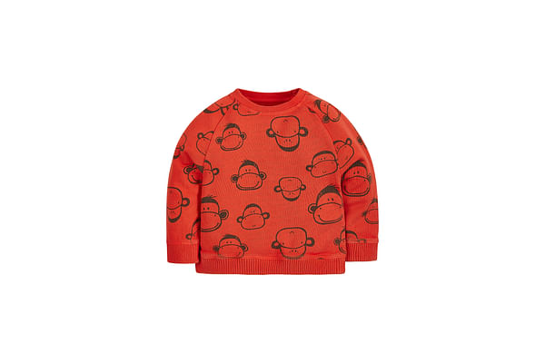 Boys Full Sleeves Sweatshirt Monkey Print - Orange