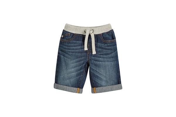 Boys Denim Shorts Rib Waist - Blue