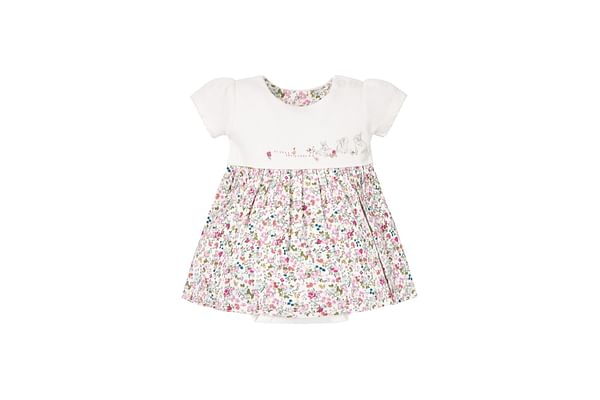 Girls Half Sleeves Romper Dress Floral Print And Embroidery - White