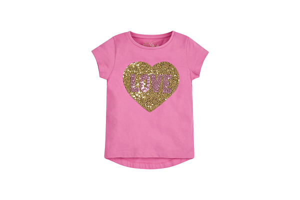 Girls Half Sleeves T-Shirt Sequin Heart Design - Pink
