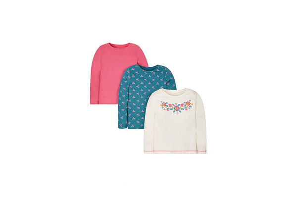 Girls Full Sleeves T-Shirt Floral Print - Pack Of 3 - Multicolor