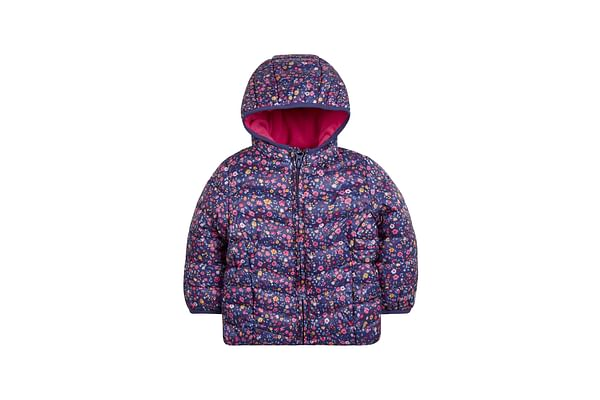Girls Full Sleeves Quilted Jacket Floral Print - Navy