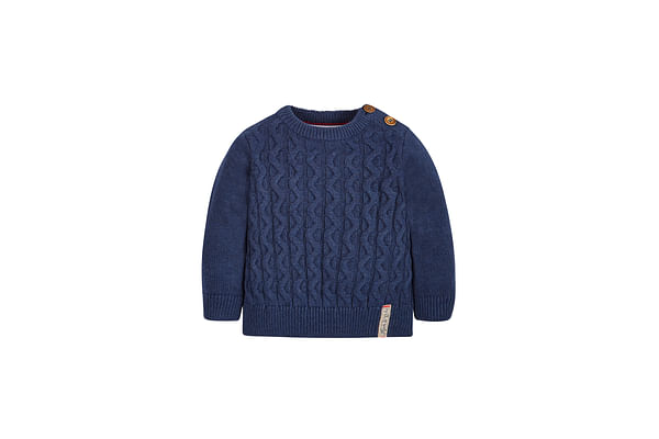 Boys Full Sleeves Sweater Cable Knit - Navy
