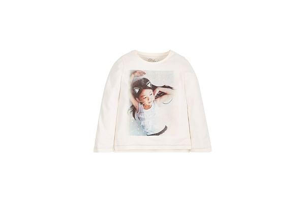 Girls Full Sleeves T-Shirt Photo Print - Cream