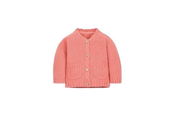 Girls Full Sleeves Cardigan Cable Knit - Coral