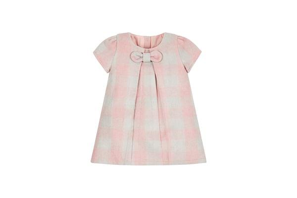 Girls Half Sleeves Check Dress Bow Detail - Pink