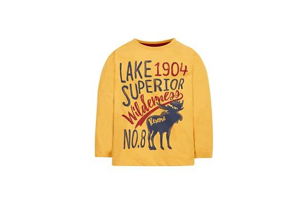 Boys Full Sleeves T-Shirt Text Print - Yellow