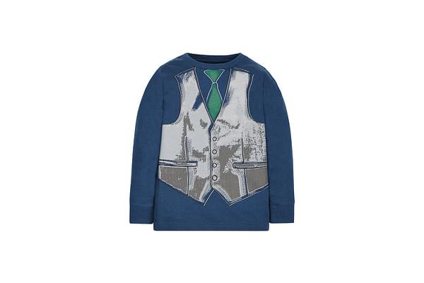Boys Full Sleeves T-Shirt Mock Waistcoat Print - Blue