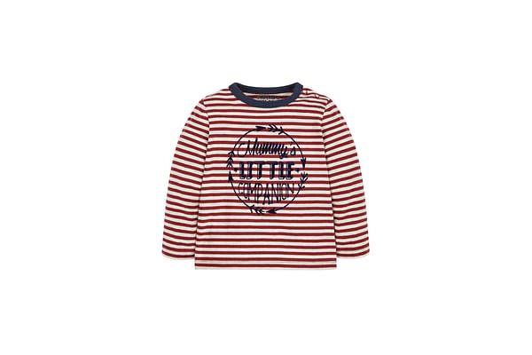 Boys Full Sleeves Striped T-Shirt Slogan Print - Multicolor
