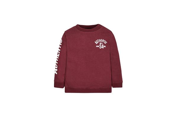 Boys Full Sleeves Sweatshirt Text Print - Burgundy