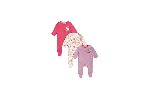 Girls Full Sleeves Sleepsuit Owl Patchwork - Pack Of 3 - Multicolor
