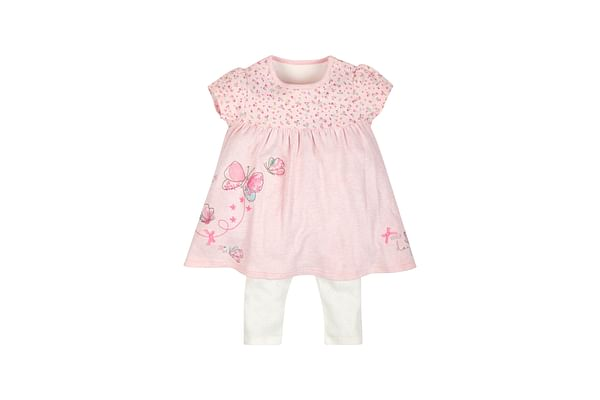 Girls Lovely Day Dress And Leggings Set - Pink