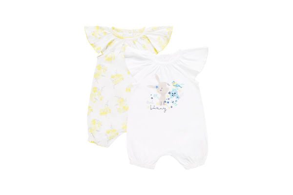 Girls Little Bunny And Floral Rompers - Pack Of 2 - White Yellow