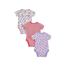 Girls Bug, Striped And Floral Bodysuits - Pack Of 3 - Multicolor